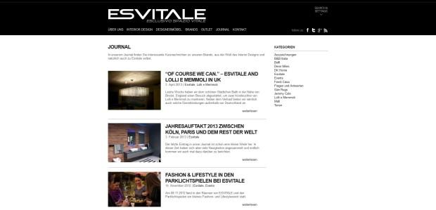 Eine Blogunterseite, die über die aktuellen Ereignisse von Esvitale und die Welt des Interior Designs berichtet.