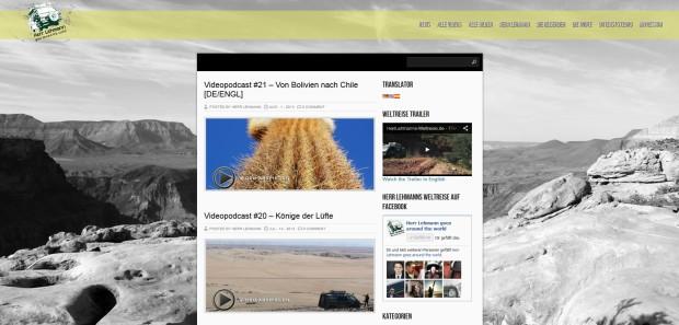 Screenshot von der Website Herr Lehmanns Weltreise